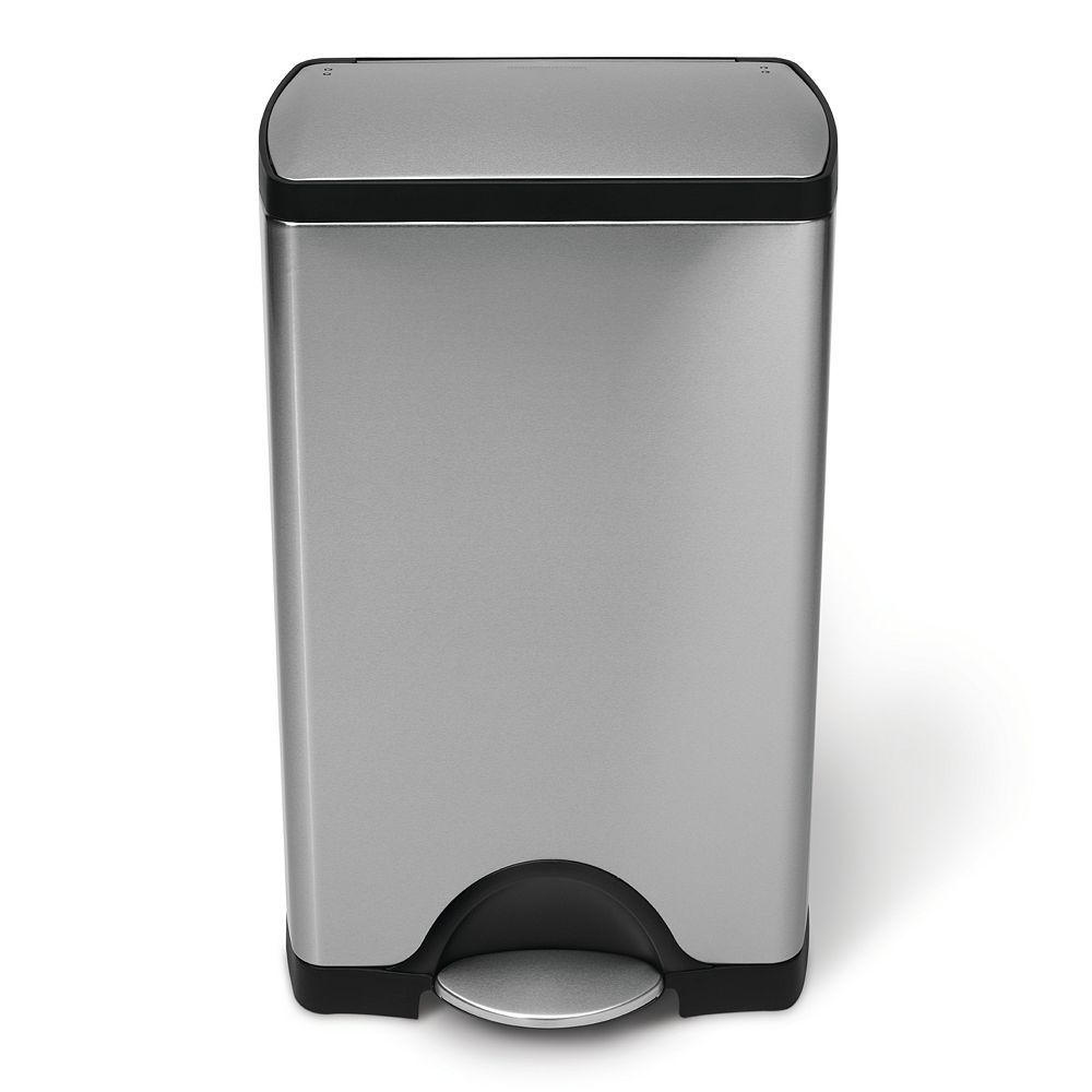 Simplehuman 10 Gallon Rectangular Step Trash Can Kitchen Trash Cans Brushed Stainless Steel Canning