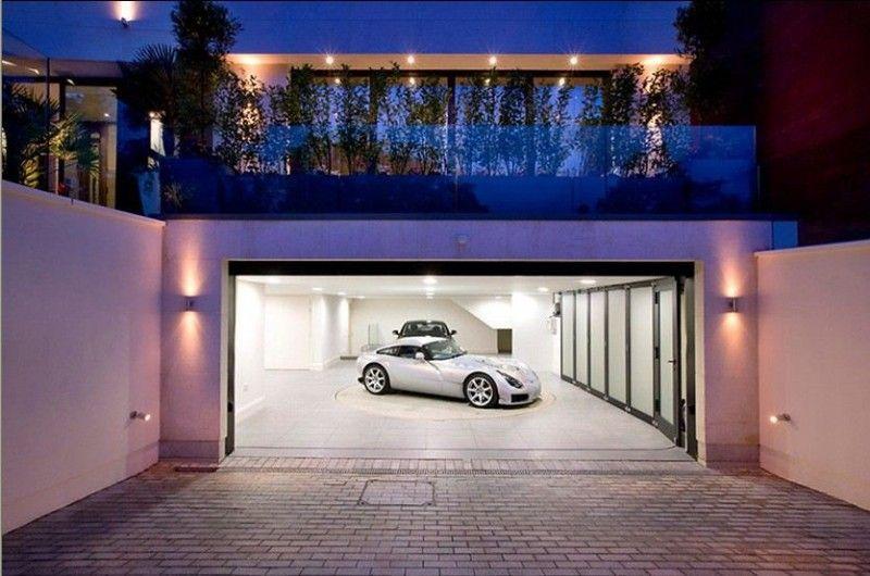 Open Modern Garage Door I Like The Huge Windows With Trees Shrubs In Front