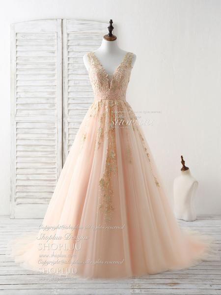 c251bde236e6f Unique v neck tulle lace applique long prom dress, evening dress in ...