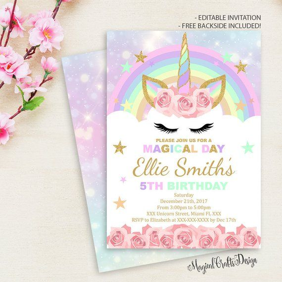 Rainbow Unicorn Birthday Invitation Pink Party Invite Instant Download Magical Inv