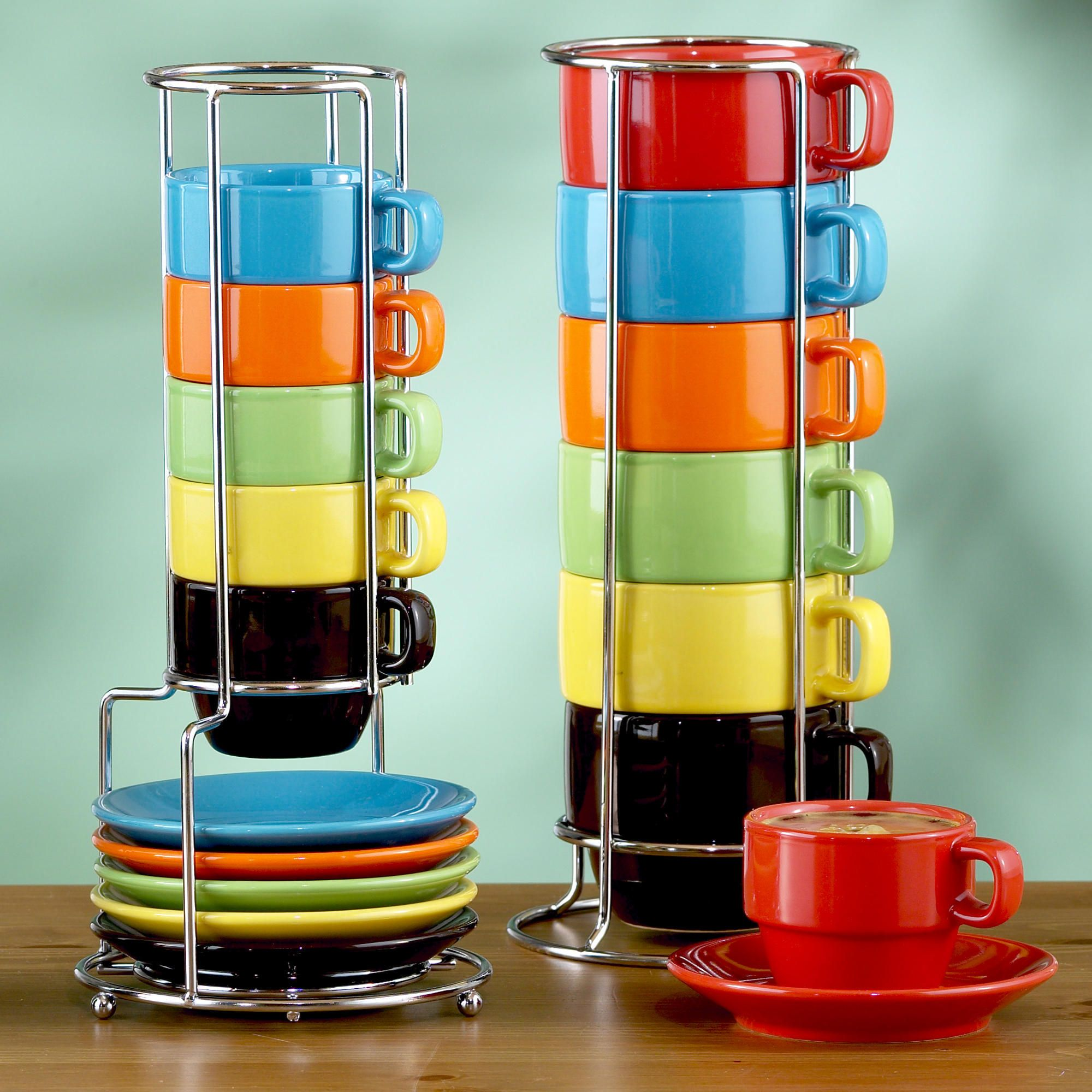Multicolor Stacking Mugs Or Espresso Cups Sets Of 6 World Market