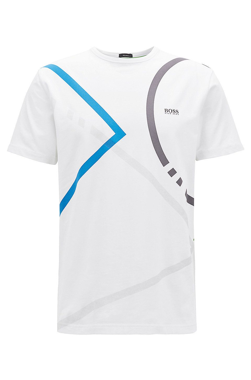 68f9956e0 HUGO BOSS Stretch-cotton jersey T-shirt with placement print - White T- Shirts from BOSS for Men in the official HUGO BOSS Online Store free  shipping
