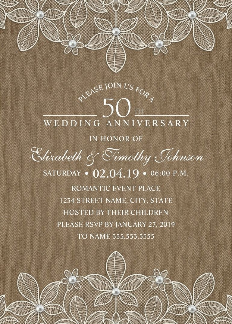 Rustic Burlap 50th Wedding Anniversary Invitations Lace And Pearls Cards 50th Wedding Anniversary Invitations 90th Birthday Invitations Wedding Anniversary Invitations