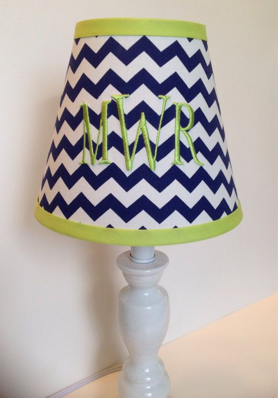 Monogrammed lamp shade in navy blue chevron with lime green accent monogrammed lamp shade in navy blue chevron with lime green accent on etsy 5400 mozeypictures Image collections