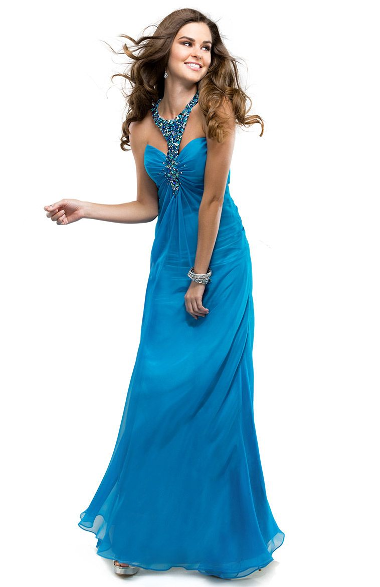 Chiffon Halter Dress with Jeweled Neckline and T-Strap Back ...