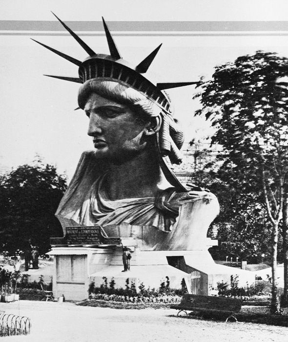 The head of the Statue of Liberty, designed by sculptor Frederic Auguste Bartholdi, on display on the Champ de Mars, Paris, France, 1878
