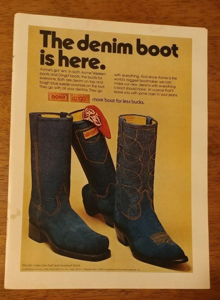 1974 Dingo denim boots ACME Western blue jean Original Vintage Print Ad bucks