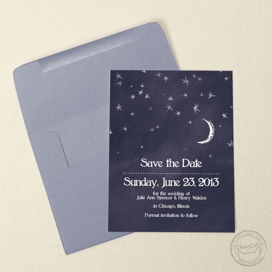 Let These Moon And Stars Save The Date Cards Take You Away