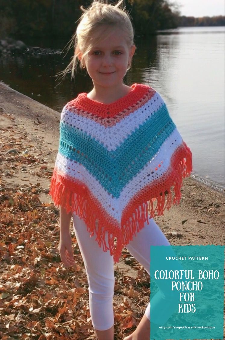 Kids' Poncho- Bohemian- Crochet PATTERN- by Tracy Phillips @ A Frayed Knot Boutique