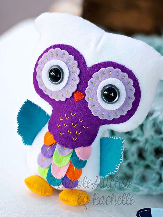 "7-1/2"" White & Bright Colored Rainbow Felt Owl, Stuffed Owl Doll, Owls, stuffed animal, softie, toy"