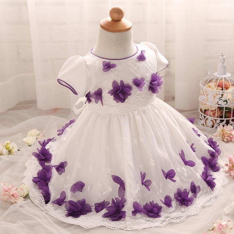 3d Flower Petal Lace Princess Dress Pageant Birthday Baptism