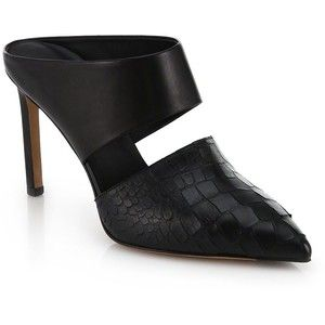 Vince Corinne Leather and Snake-Embossed Leather Mule Pumps