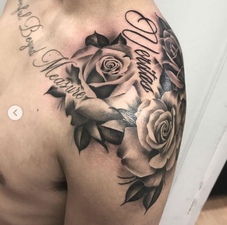 Tattoo Para El Hombro Rose Tattoos For Men Mens Shoulder Tattoo Rose Shoulder Tattoo