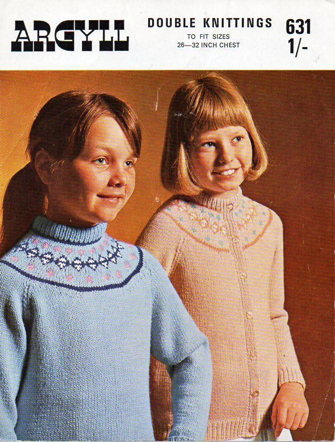 vintage childrens fair isle sweater cardigan knitting pattern PDF ...
