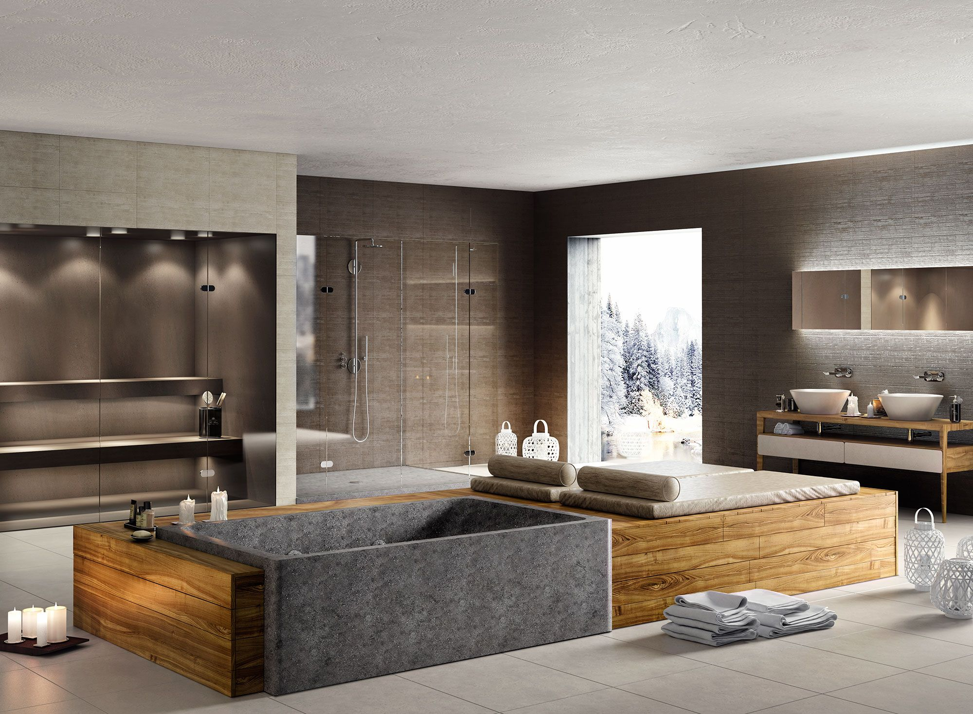 A Large Sized Room Could Be Transformed Into A Spa Style Sanctuary With The  Neutra Basaltina Easy Stone Bath