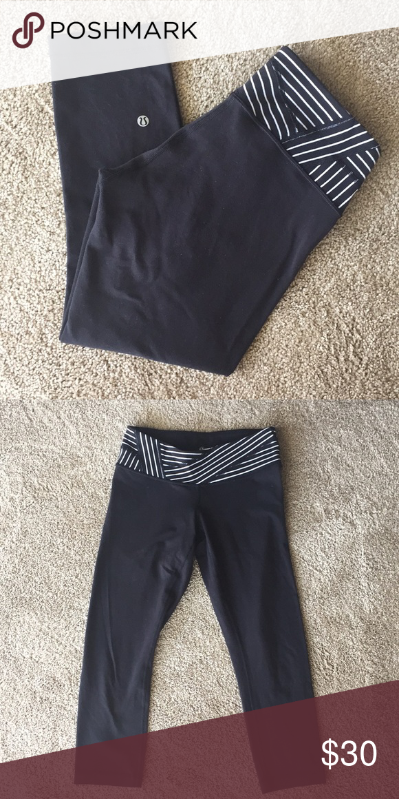 2b7424c81b Lululemon reversible wunder under crop Awesome pants for yoga or exercise!!  Waitband is reversible between all black and a black/white stripe detail  shown ...