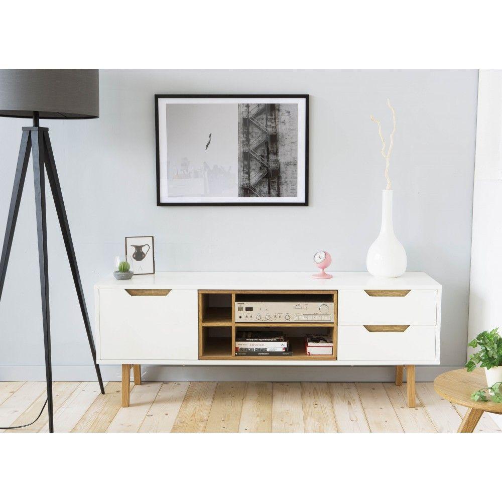 impressionnant meuble tv 150 cm blanc | décoration française