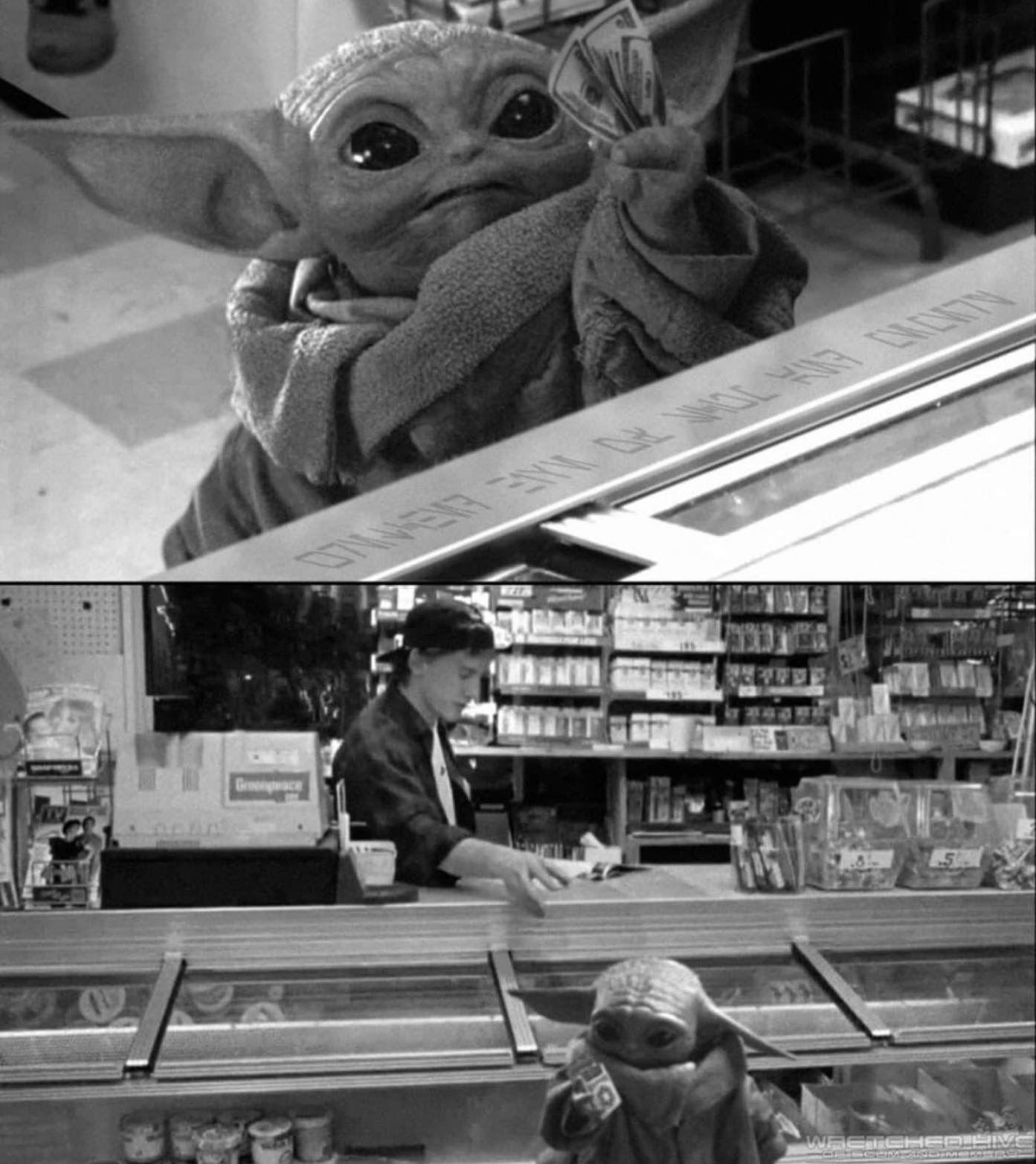 Baby Yoda In Clerks Yoda Meme Yoda Wallpaper Yoda