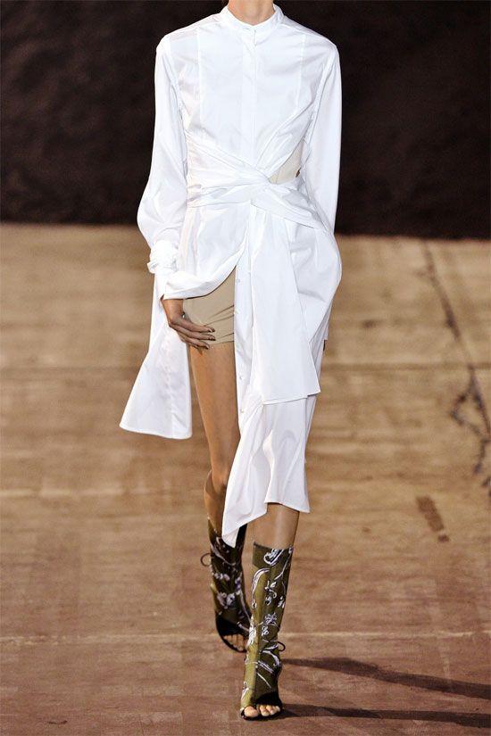 ef302181c77 3.1 Phillip Lim Long-Sleeve Cotton Twist-Front Shirtdress