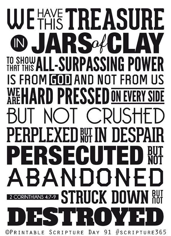 Jars of Clay. 2 Corinthians 4:7-9. 8x10in. DIY. PDF. Printable Christian Poster. Bible Verse. #365motsbocalidees