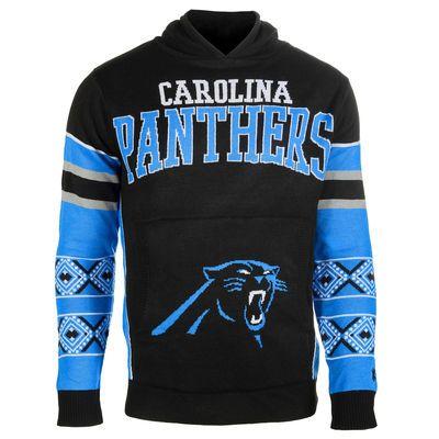 Mens Carolina Panthers Klew Black Big Logo Ugly Sweater Pullover