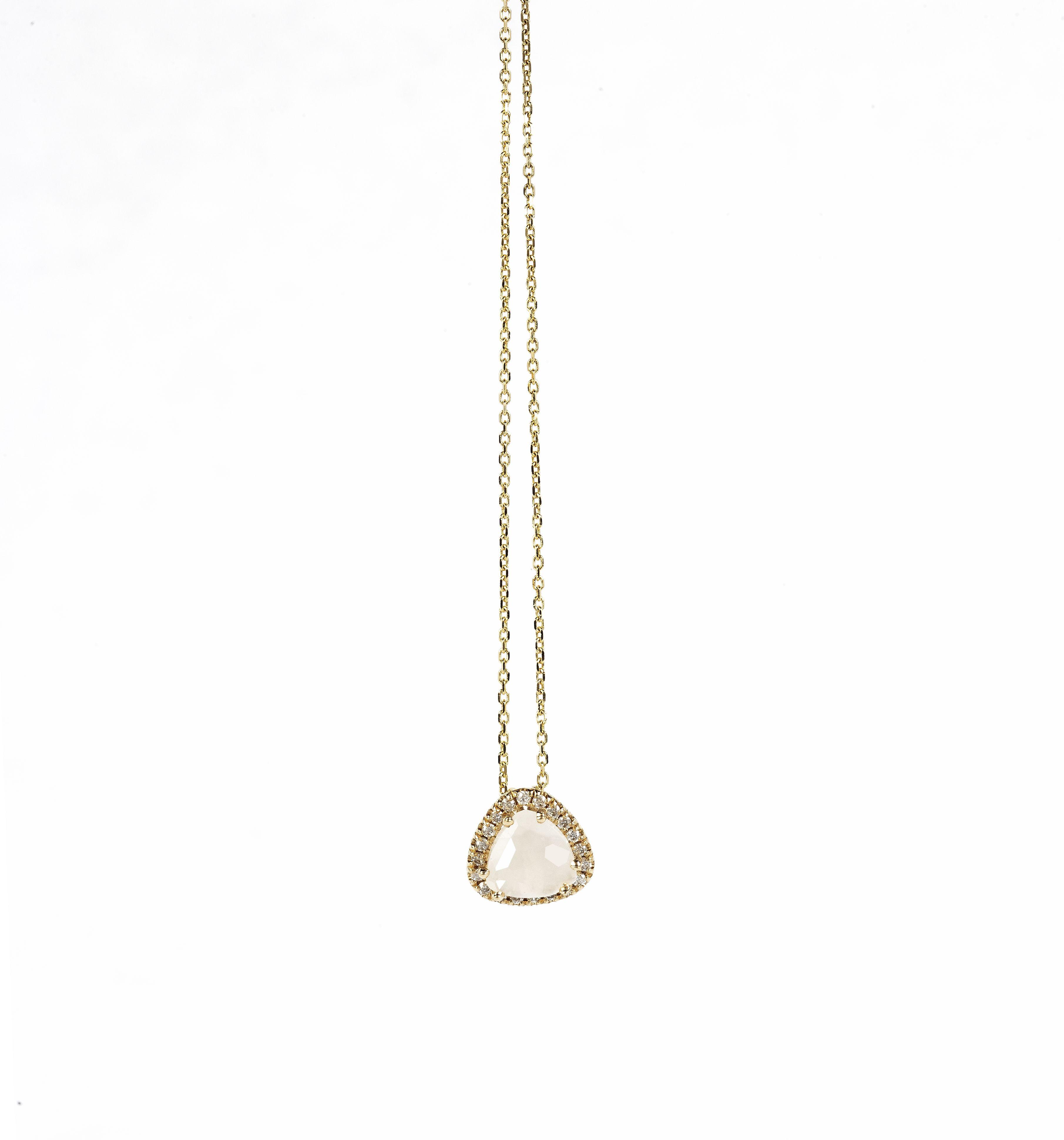 KALAN by Suzanne Kalan - 14K Yellow Gold Necklace - White Moonstone - White Diamonds