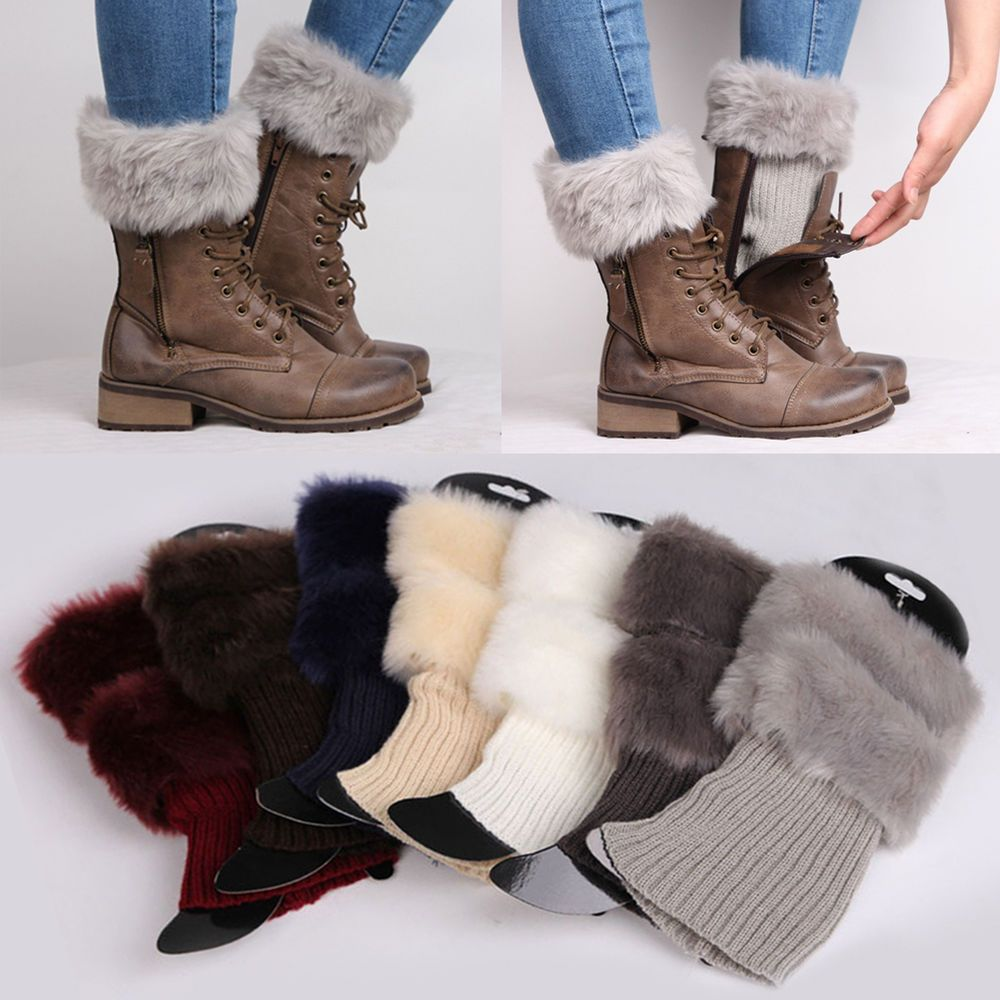 Women Lady Winter Crochet Boot Cuffs Fur Knit Toppers Boot Socks Leg ...