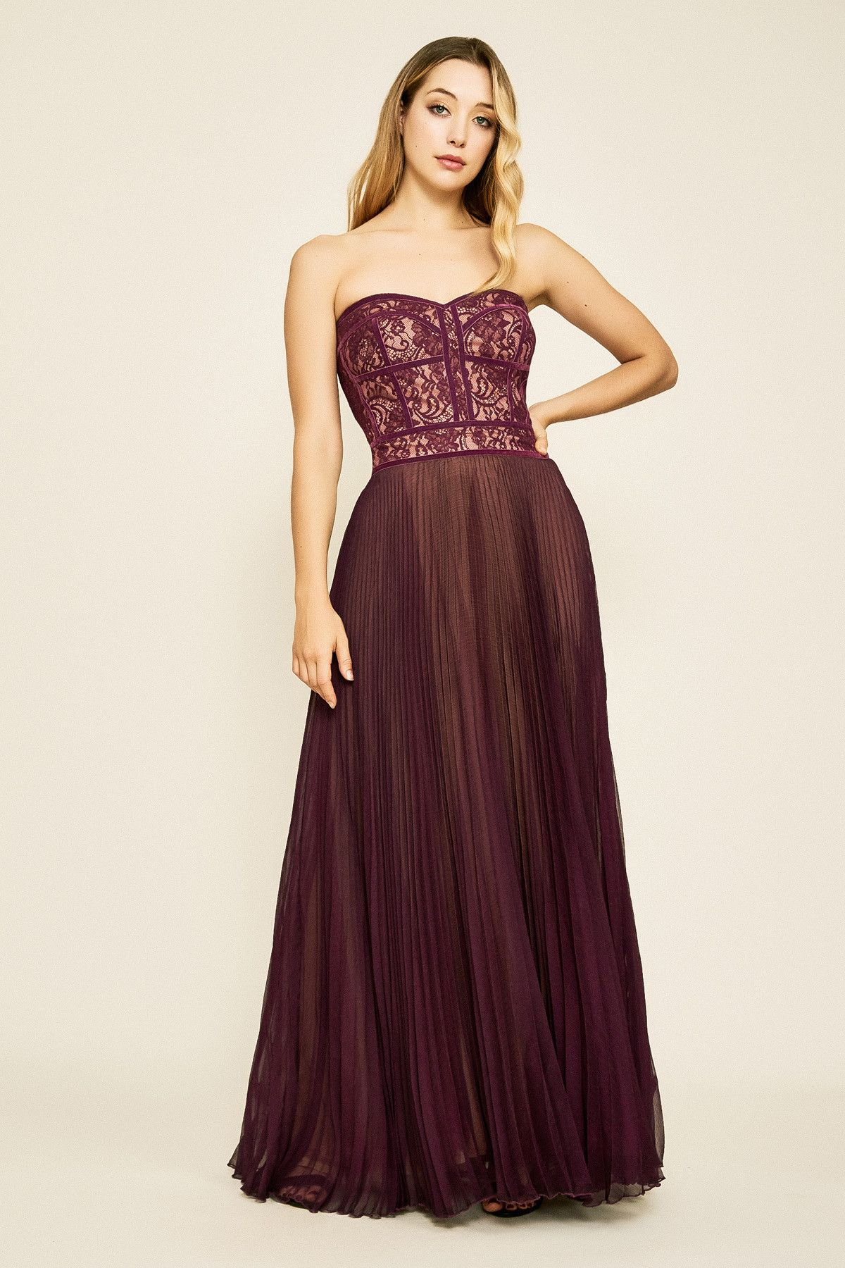 ee6b8ea800089 Reeve Strapless Lace Bodice Gown