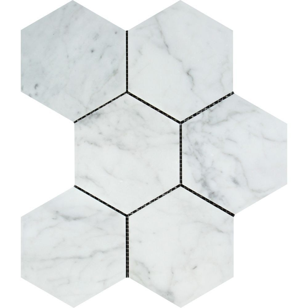 5 X 5 Honed Bianco Carrara Marble Hexagon Mosaic Tile Hexagon Mosaic Tile Hexagonal Mosaic Stone Mosaic Tile