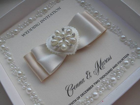 Luxury Pearl Border Wedding Invitation With Without Box