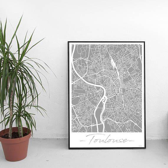 Laffiche carte de Toulouse illustre la géographie et les motifs de