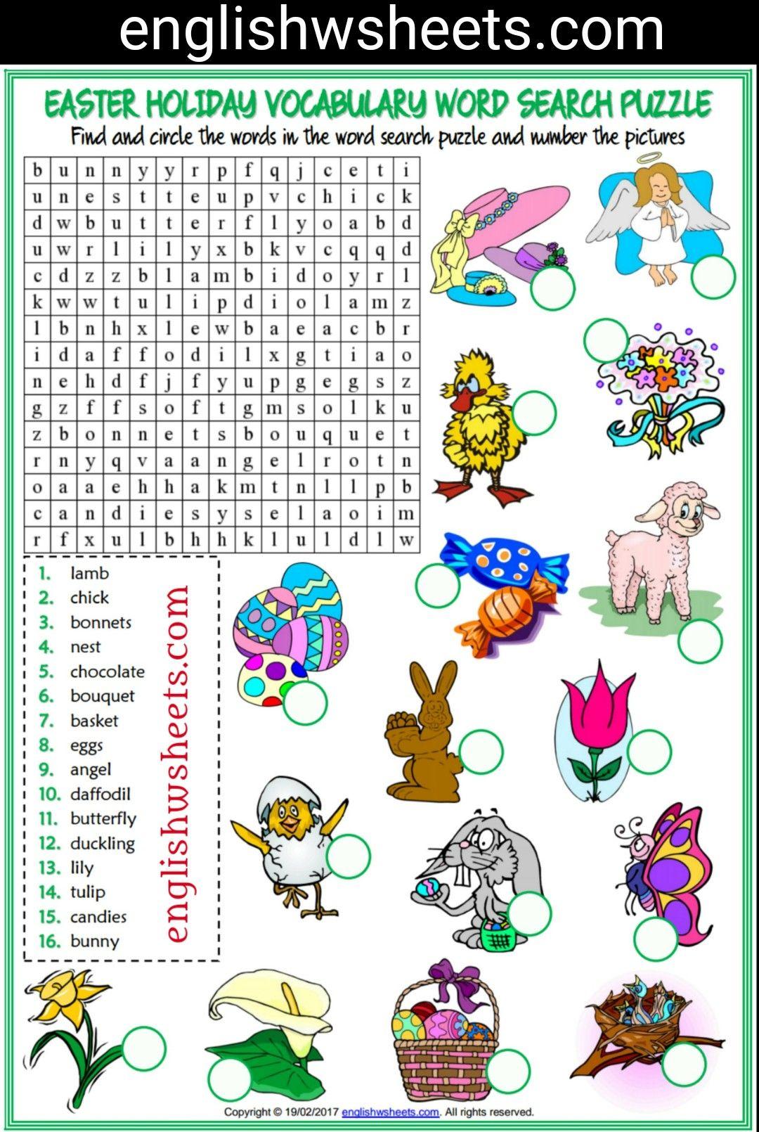 worksheet Esl Vocabulary Worksheets easter esl printable word search puzzle worksheet for kids vocabulary
