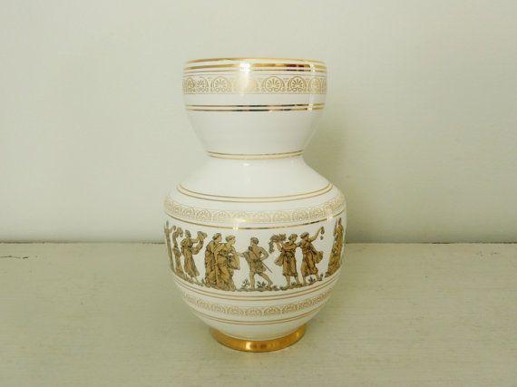 Vintage White Vase Hand Painted Greece 24k Gold Grecian Design