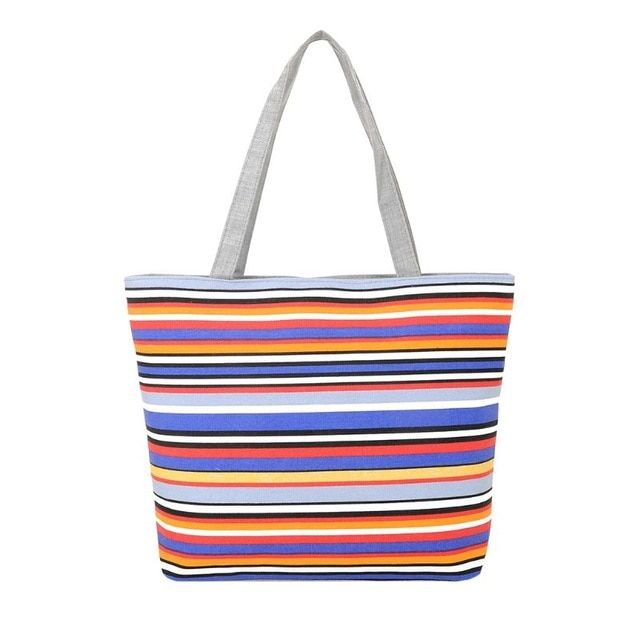 Ladies Girls Canvas Shoulder Bag Shopping Summer Beach Handbag Tote with Zip