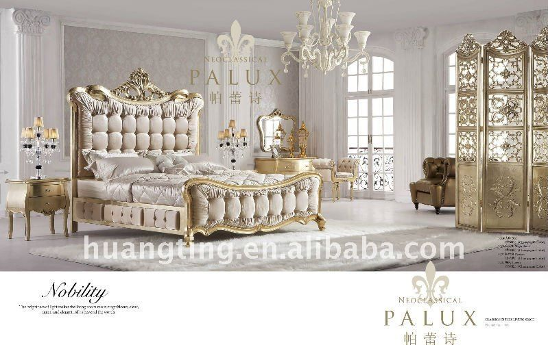316 King Size Antique Bedroom Set Elegant And Luxurious Champagne Gold