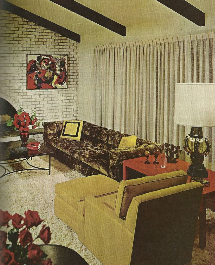 Superieur 1960s Home Decor Vaulted Ceiling Living Room