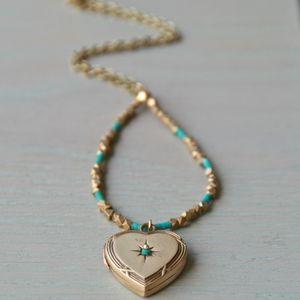 Heart And Turquoise Locket Neckalce