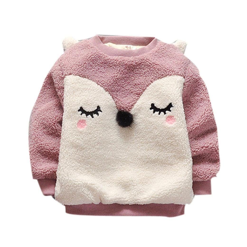 Tenworld Infant Baby Girls Rabbit Ear Warm Winter Tops Pullover