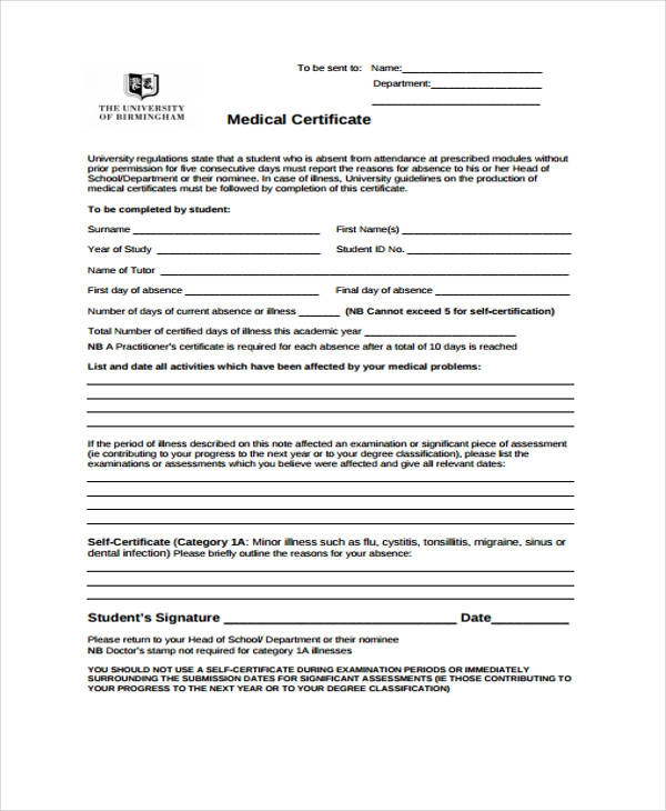 Medical Certificate Samples 10+ Free Word & PDF