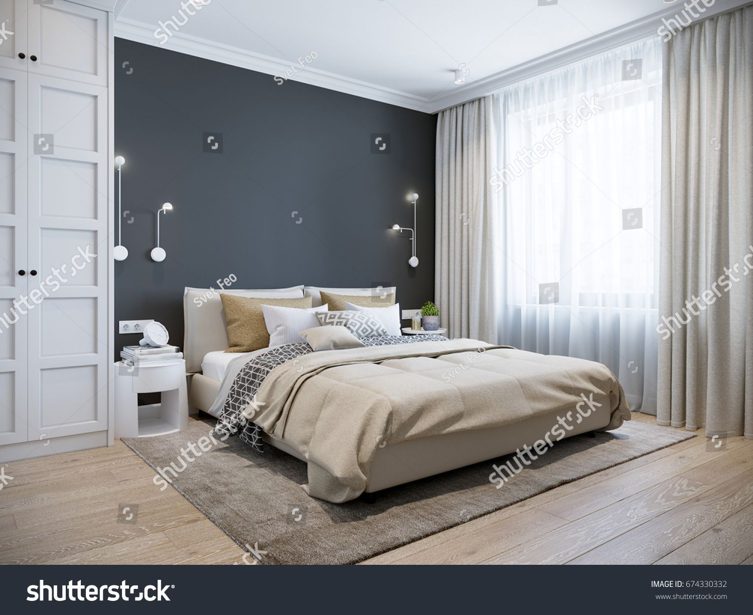 Urban Contemporary Modern Scandinavian Bedroom Interior Design Mock Up Gray And White Wall 3d R Modern Scandinavian Bedroom Bedroom Decor Cozy Bedroom Design