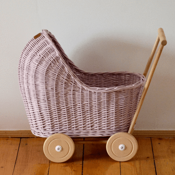Wicker Dolls Pram Dusty Pink (Arriving April) (With