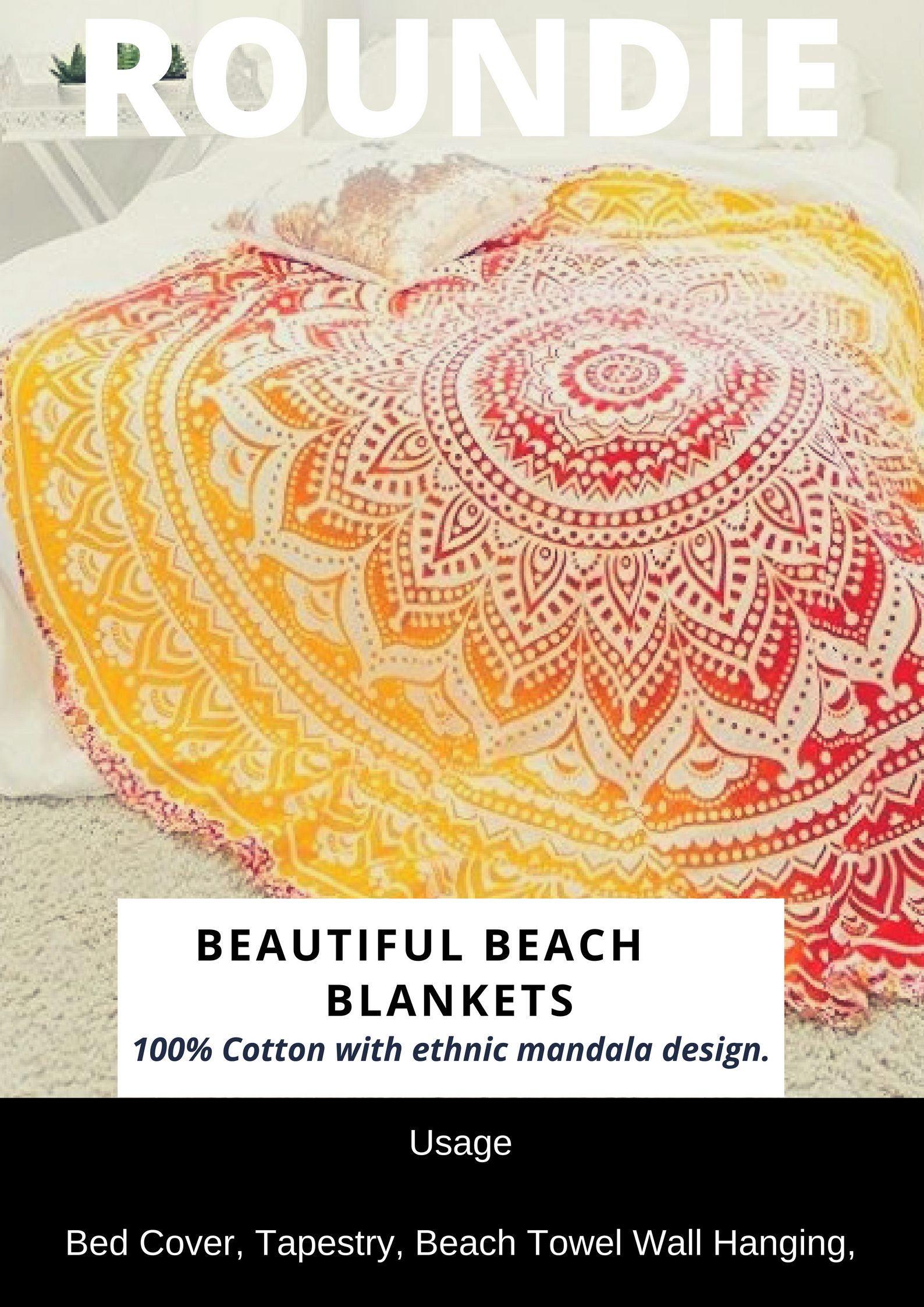 Indian Beach Round Blanket Home Decor Roundie Wall hanging , bedding ...