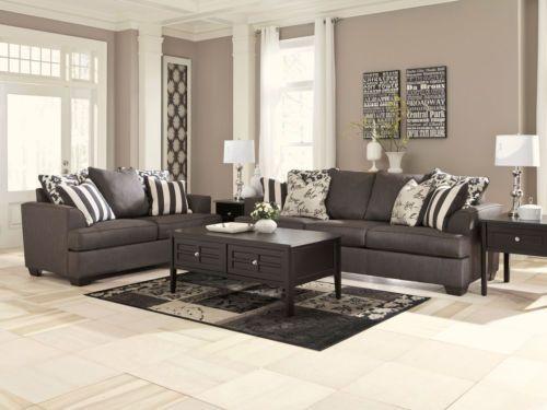 Corinne Modern Dark Gray Fabric Sofa Couch Loveseat Living ...
