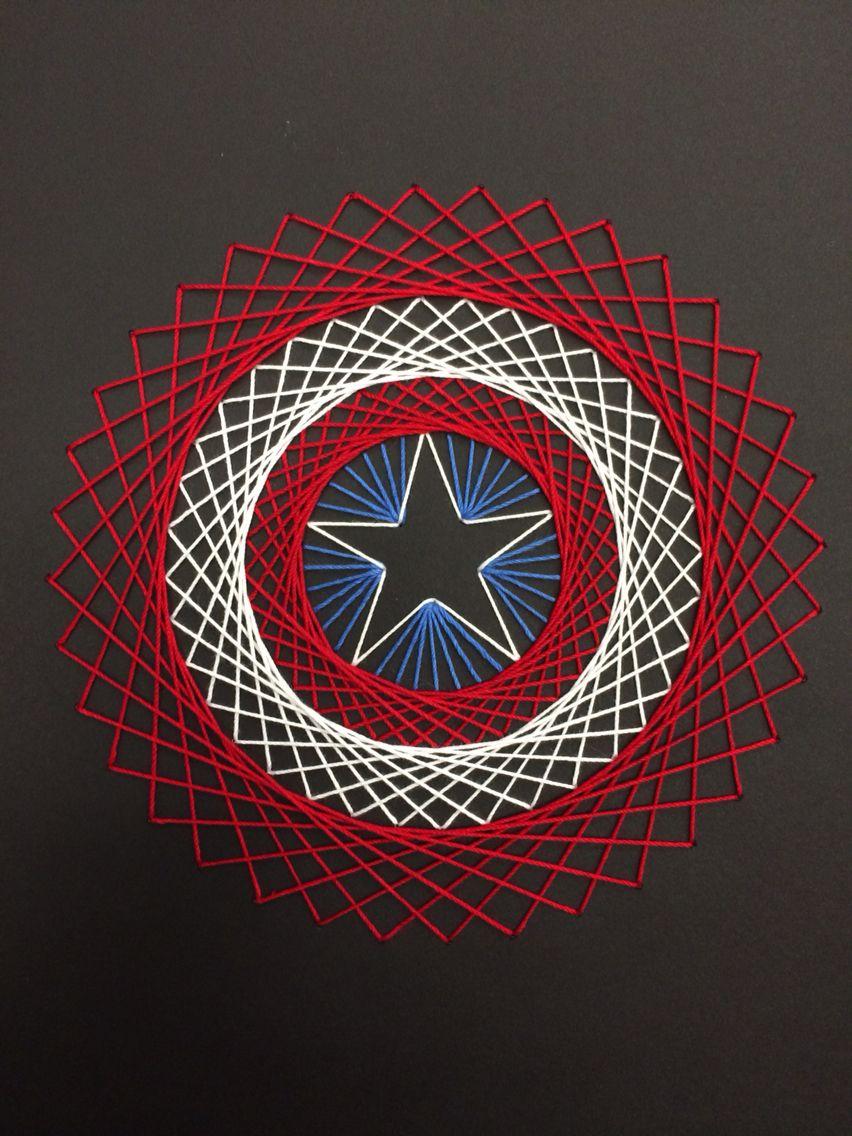 String Art Captain America String Art Diy For Fun Pinterest String Art