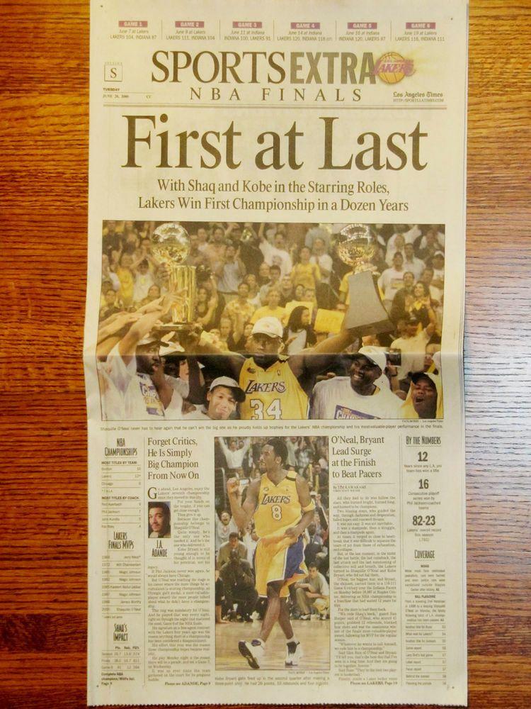 Los Angeles Lakers 2000 Nba Champions La Times Newspaper From 14 99 La Times Newspaper Lakers Win Los Angeles Lakers