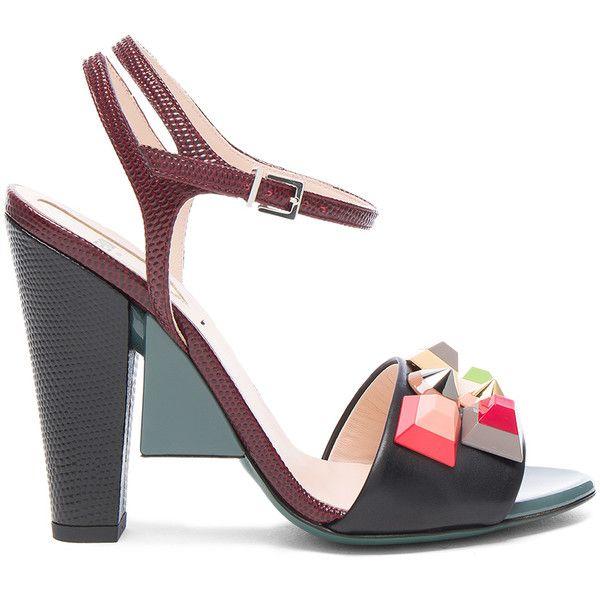Fendi Embossed Studded Sandals sale footlocker pictures Sgq0h