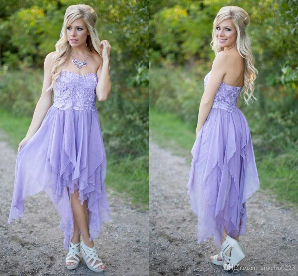 Lavender chiffon short country bridesmaid dresses 2016 hi lo lace lavender chiffon short country bridesmaid dresses 2016 hi lo lace strapless maid honor dresses cheap wedding ombrellifo Choice Image