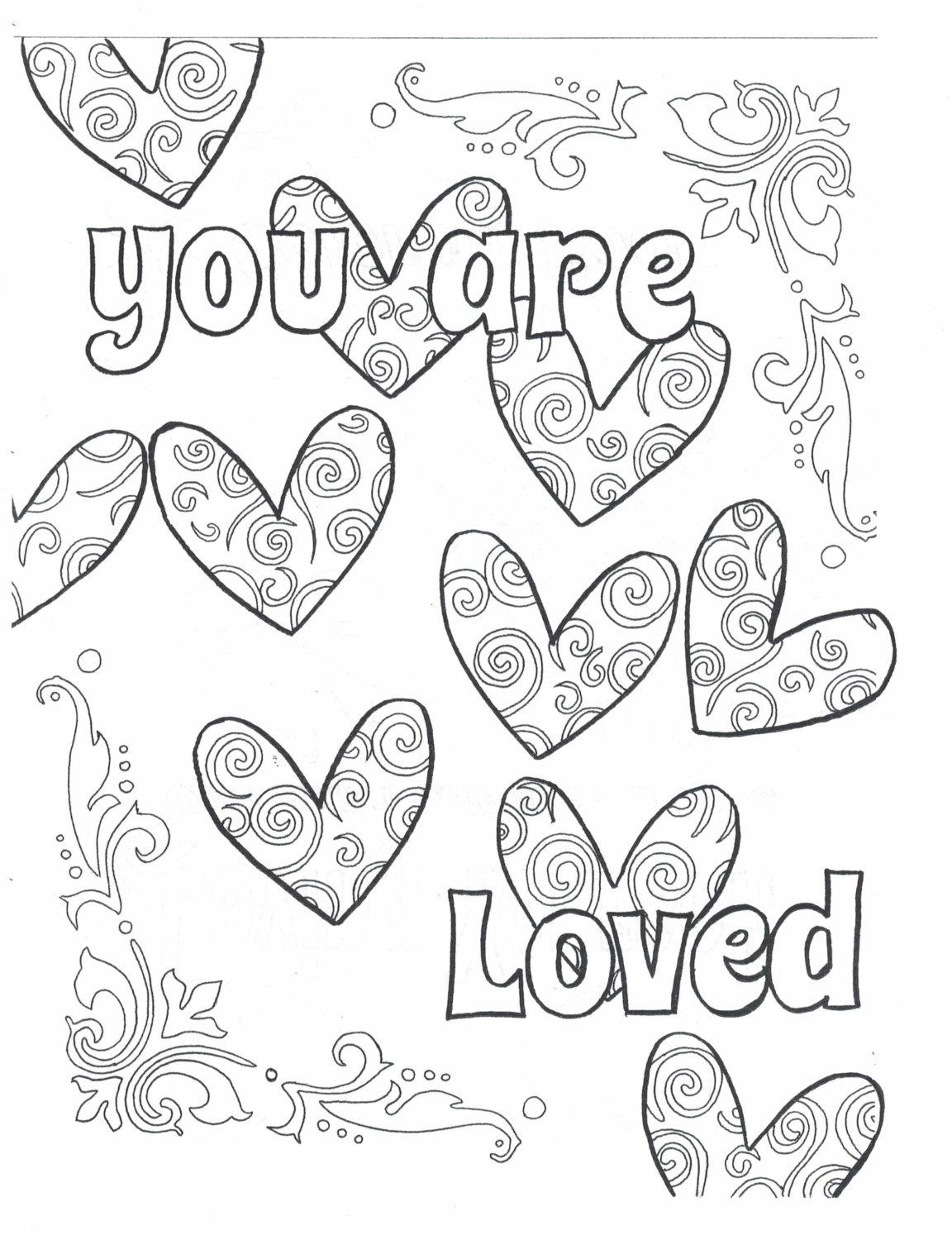 You Are Loved Coloring Page Valentine Coloring Pages Quote