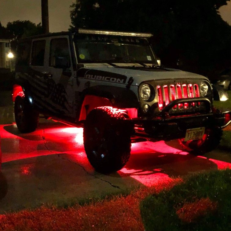Mictuning Rgb Led Rock Lights With Upgraded App Bluetooth Controller Timing Function Music Mode 8 Pods Multico Led Rock Light Waterproof Led Led Light Kits