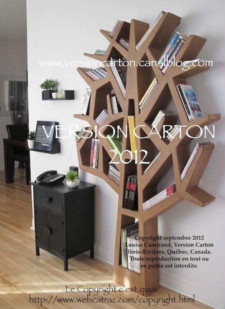 arbre cd dvd livres carton meuble version carton biblioth que tag re mobilier sign avec. Black Bedroom Furniture Sets. Home Design Ideas